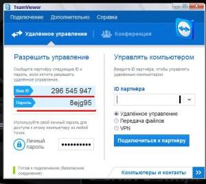 Данные для подключения удаленного доступа
